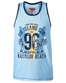 D555 Wirral Hawaii Surf Print Tank Top Blau