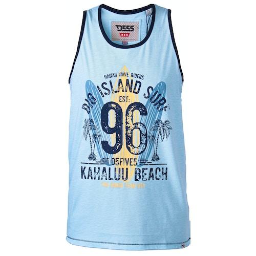 D555 Wirral Hawaiin Surf Print Vest Blue