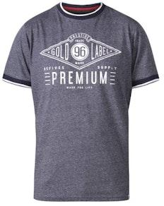 D555 Alister Premium Chest Printed Ringer T-Shirt Navy