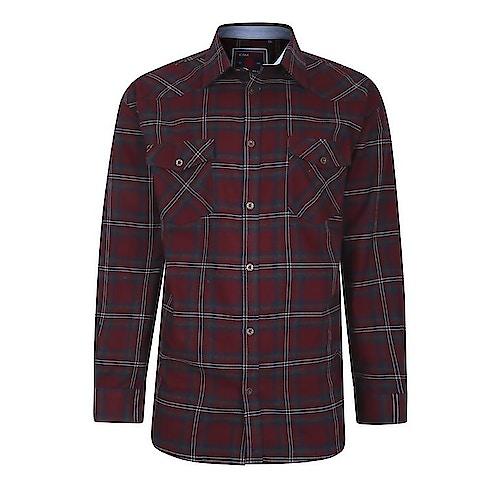 KAM Flannel Long Sleeve Check Shirt Burgundy