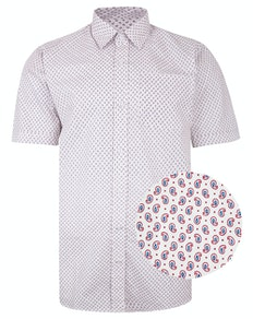 Bigdude Short Sleeve Cotton Woven Paisley Pattern Shirt White/Red Tall