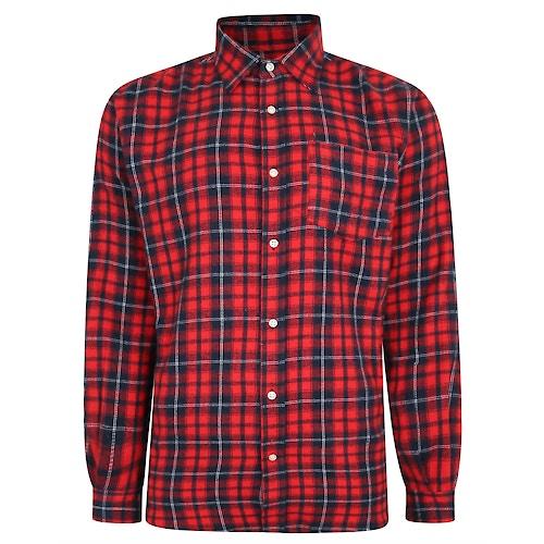 Bigdude Long Sleeve Checked Shirt Red