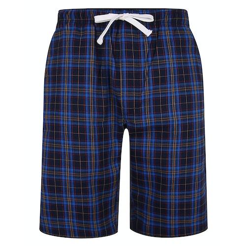 Bigdude Woven Check Pyjama Shorts Royal Blue/Navy