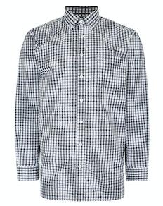 Bigdude Long Sleeve Gingham Shirt Navy Tall