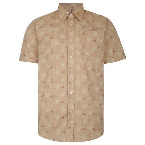 Bigdude Short Sleeve Cotton Woven Leaf Print Shirt Sand/Brown