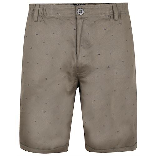 Bigdude Patterned Twill Chino Shorts Khaki