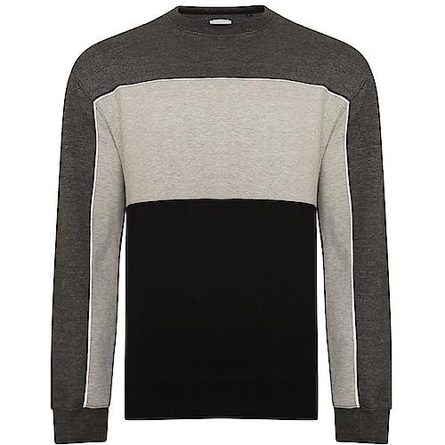 KAM Contrast Panel Sweatshirt Charcoal