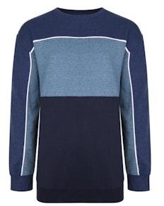 KAM Contrast Panel Sweatshirt Denim