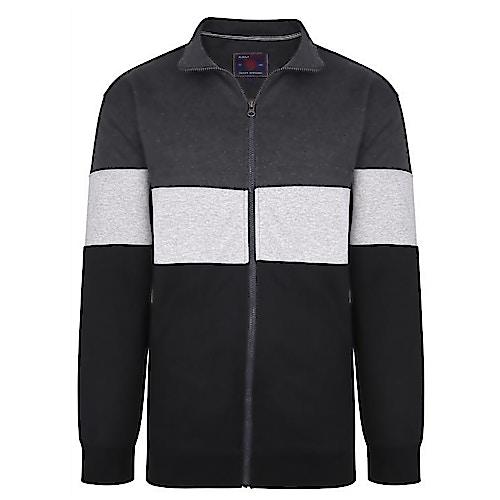 KAM Cut & Sew Zip Sweatshirt Charocal