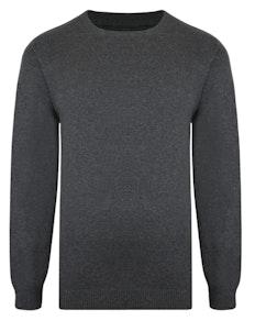 Bigdude – Einfarbiger Pullover mit Rundhalsausschnitt Charcoal Tall