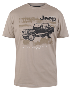 D555 Wolverton Official Jeep Printed T-Shirt Taupe