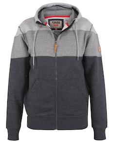 D555 Pennymoor Full Zip Panelled Hoody Grey/Charcoal