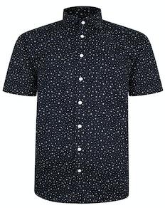 Bigdude Patterned Short Sleeve Shirt Black Tall