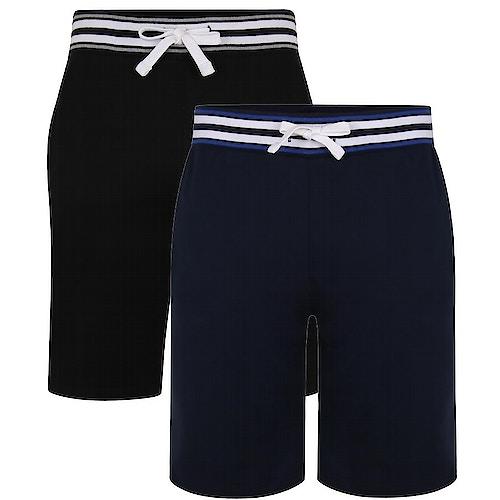 Bigdude Contrast Stripe Waistband Shorts Twin Pack Black/Navy