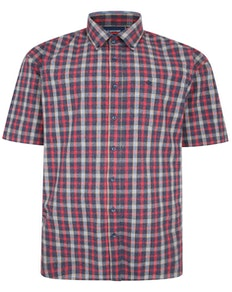 Spionage Hemd mit gebürstetem Karomuster Grau/Rot