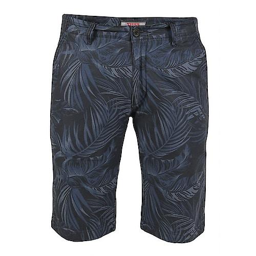 D555 Panther Hawaii Print Stretch Chino Shorts Blau