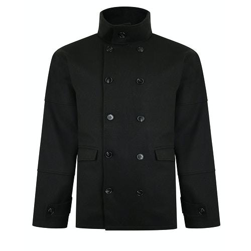 Bigdude Double Breasted Coat Black