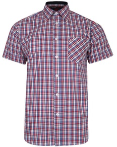 KAM Casual Check Short Sleeve Shirt Red