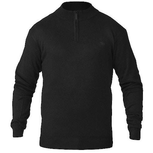 D555 Pullover mit Reißverschlusskragen Schwarz