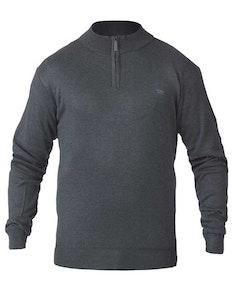 D555 Pullover mit Reißverschlusskragen Grau