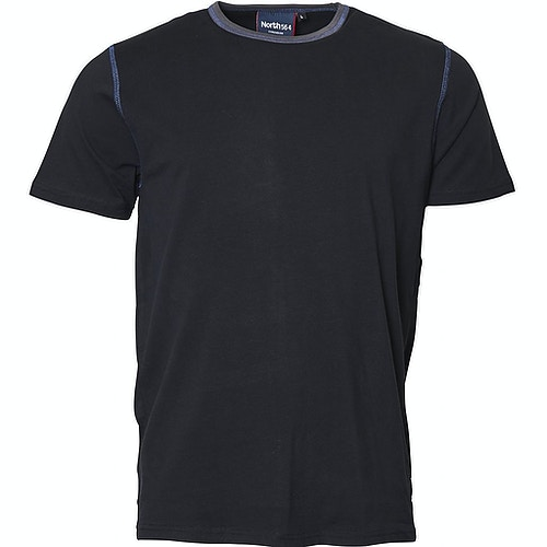Replika T-Shirt mit Kontrastkragen Schwarz Tall Fit