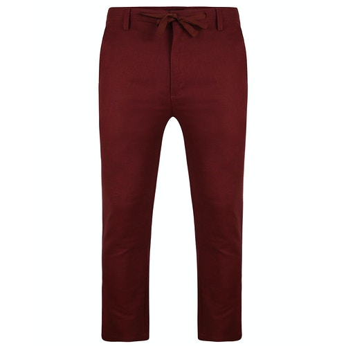 Bigdude Linen Trousers Burgundy