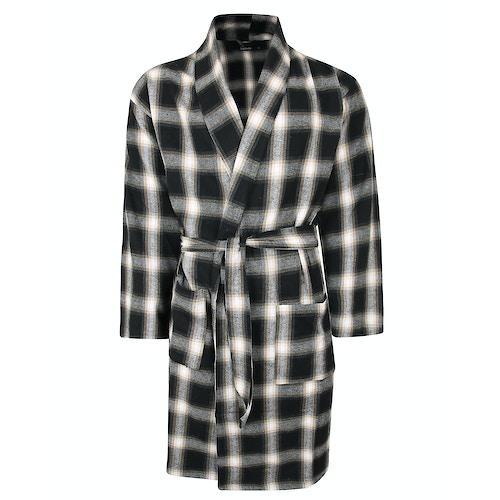 Bigdude Woven Cotton Dressing Gown Black