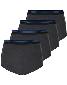 Bigdude 4 Pack Briefs With Keyhole Charcoal