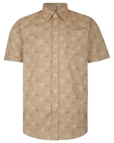 Bigdude Short Sleeve Cotton Woven Leaf Print Shirt Sand/Brown Tall