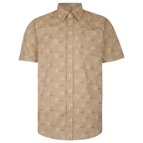 Bigdude Short Sleeve Cotton Woven Leaf Print Shirt Sand/Brown Tall
