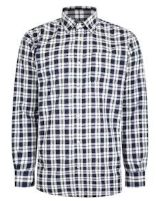 Bigdude Woven Long Sleeve Checked Shirt Navy/White