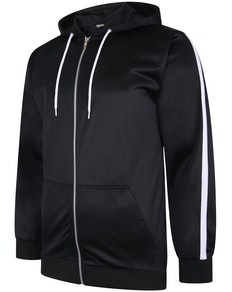 Bigdude Tricot Zip Up Hoody With Stripe Black