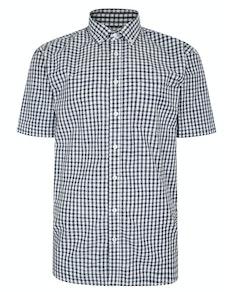 Bigdude Short Sleeve Gingham Shirt Navy Tall