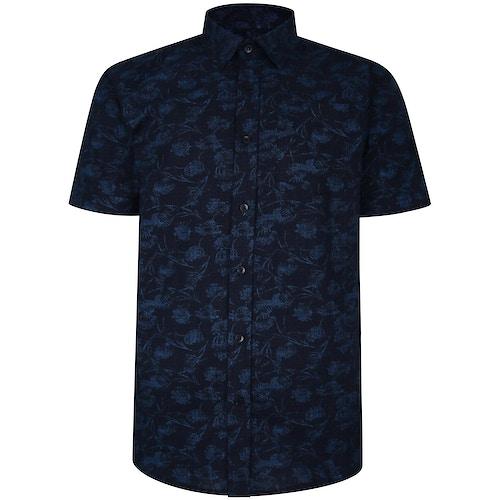 Bigdude Short Sleeve Cotton Woven Link Floral Pattern Shirt Black/Blue