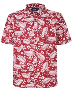 Espionage Floral/Leaf Print Shirt Red
