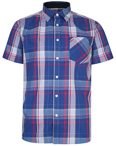 KAM Casual Check Short Sleeve Shirt Blue