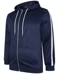 Bigdude Tricot Zip Up Hoody With Stripe Navy