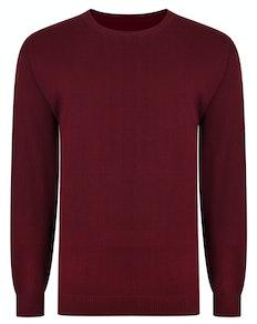Bigdude – Einfarbiger Pullover mit Rundhalsausschnitt Burgund Tall