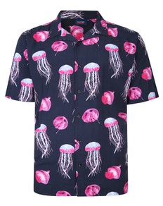 Espionage Jelly Fish Print Shirt Navy