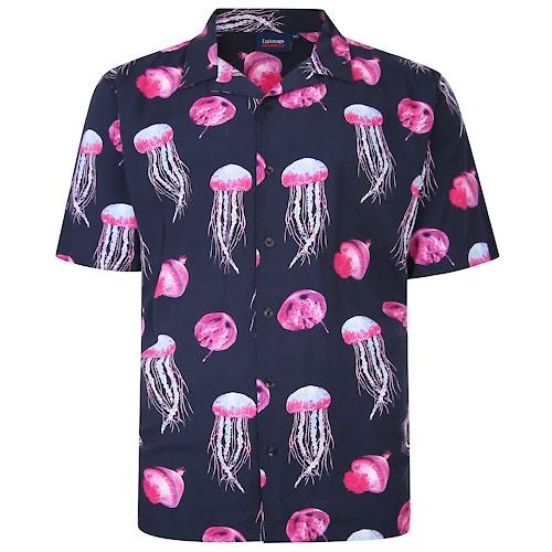 Espionage Jelly Fish Print Shirt Navy