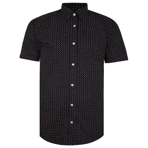 Bigdude Short Sleeve Cotton Woven Asterix Shirt Black