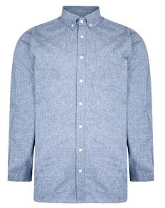 Bigdude Chambray Long Sleeve Shirt Light Blue Tall