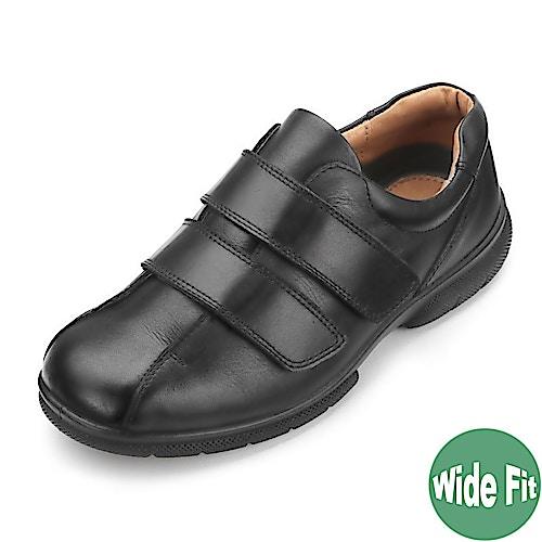 DB Shoes Ashton Wide Fit Black Leather Shoe