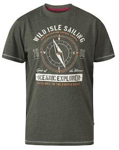 D555 Atticus Oceanic Explorer Print T-Shirt Khaki