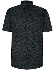 Bigdude Short Sleeve Cotton Woven Abstract Design Shirt Black/Green Tall