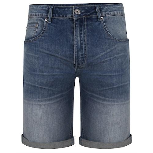 Bigdude Denim Shorts With Turn Ups Mid Wash