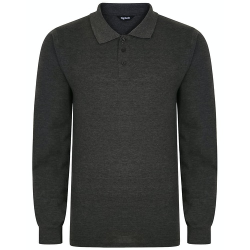 Bigdude Long Sleeve Polo Shirt Charcoal Marl