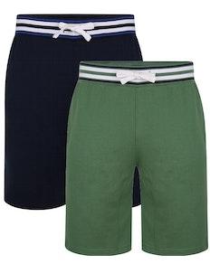 Bigdude Contrast Stripe Waistband Shorts Twin Pack Navy/ Deep Green