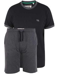 D555 Thorney T-Shirt/Shorts Check Loungewear Set Black/Charcoal Marl
