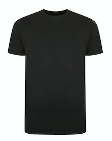 Bigdude Basic T-Shirt mit Kontraststreifen Schwarz Tall